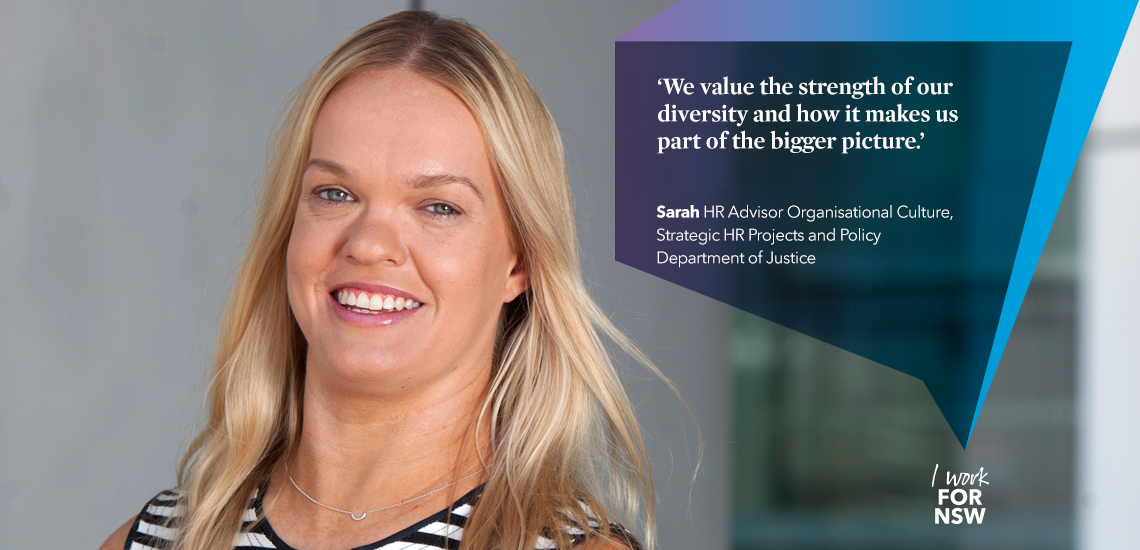 Sarah - HR Advisor NSW Department of Justice | I work for NSW