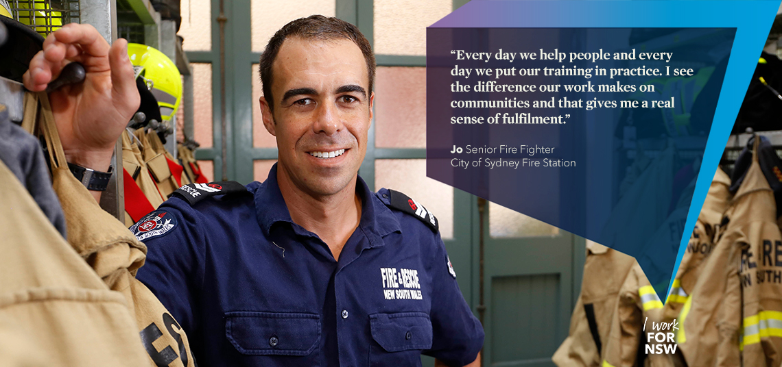 Jo - Senior Fire Fighter City of Sydney Fire Station | I work for NSW