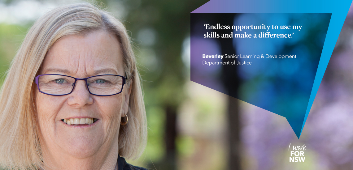 Beverley - Senior Learning & Development Officer NSW Department of Justice profile | I work for NSW